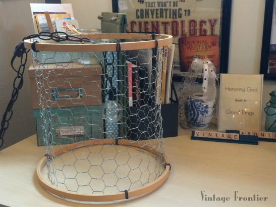 Chicken Wire and Embroidery Hoop Pendant Light