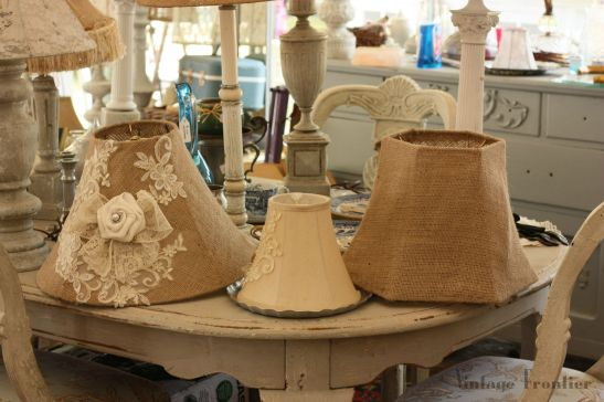 Visiting Texas Antiques Week means finding all the cool stuff you want...and some cool stuff you cant wait to makes. Like these great Burlap Lamp Shades.