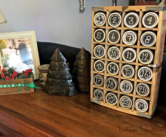 Create a great interactive Advent Calendar for your family out of an old soda crate.
