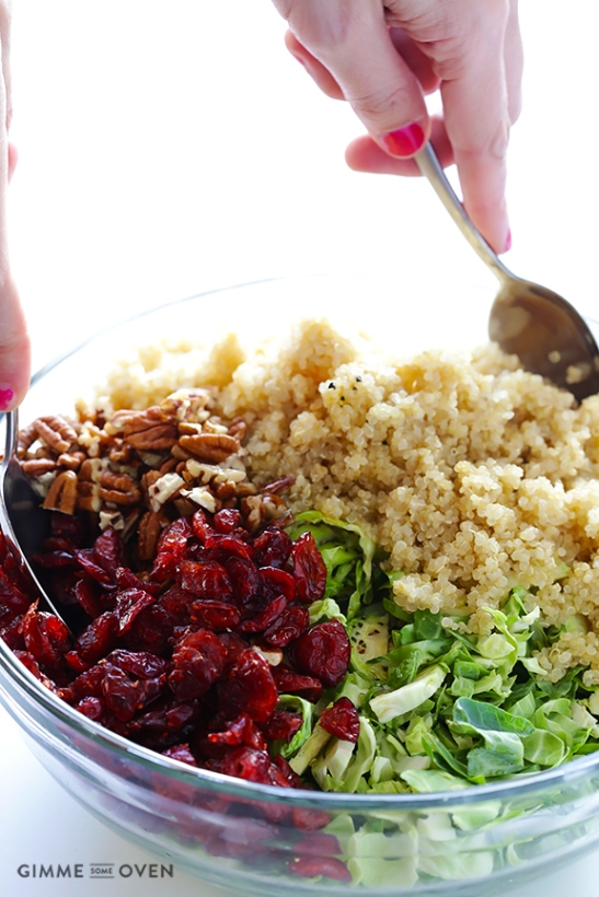 Dress up some brussels sprouts as a great thanksgiving side dish. Brussels sprouts, cranberry, quinoa salad by Gimme Some Over.